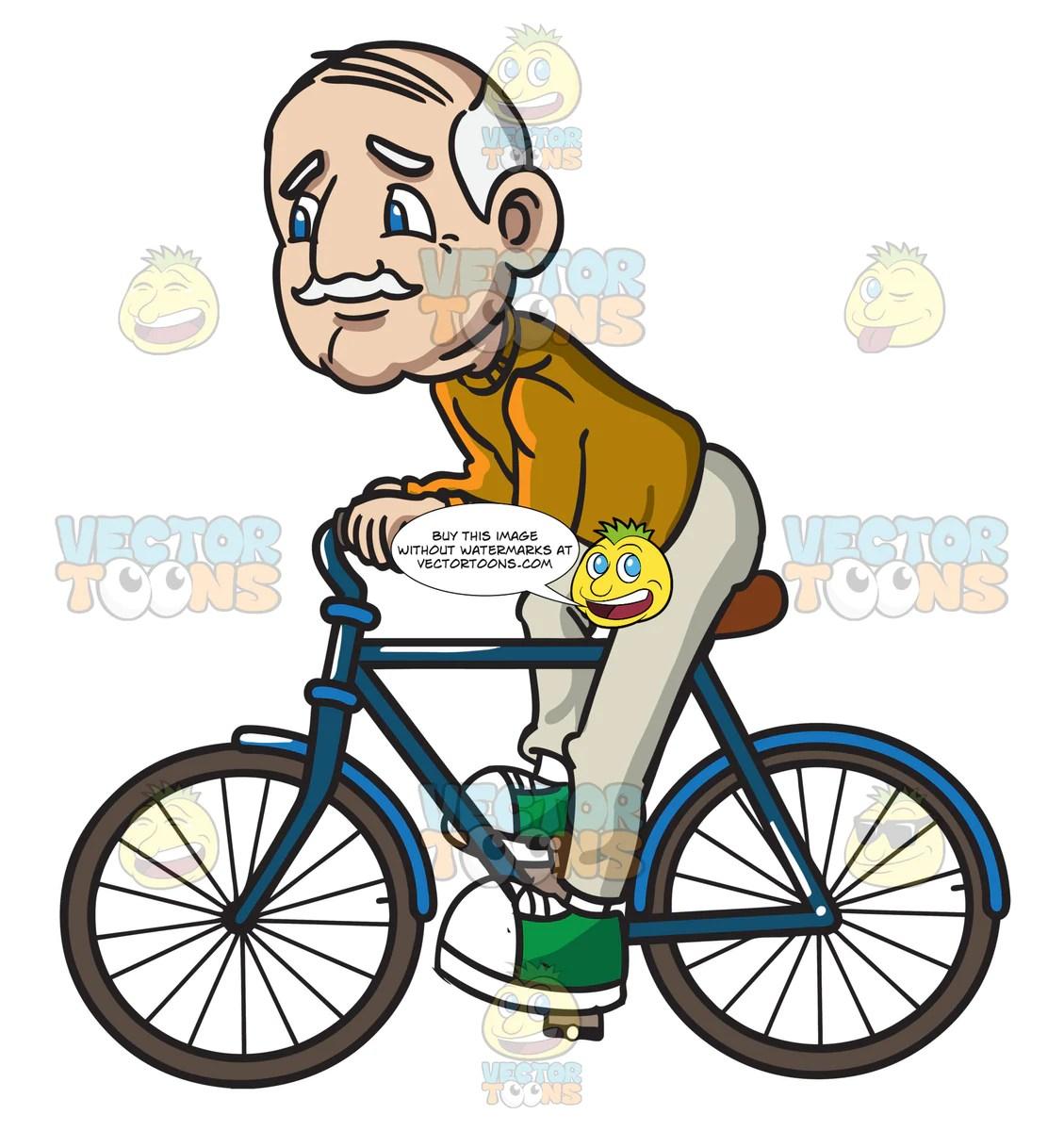 a grandpa riding a