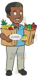 shopping grocery clipart groceries looking fulfilled buying cartoons