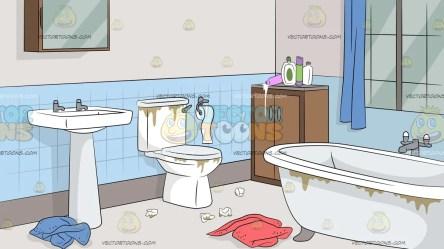 Untidy Bathroom Background Clipart Cartoons By VectorToons
