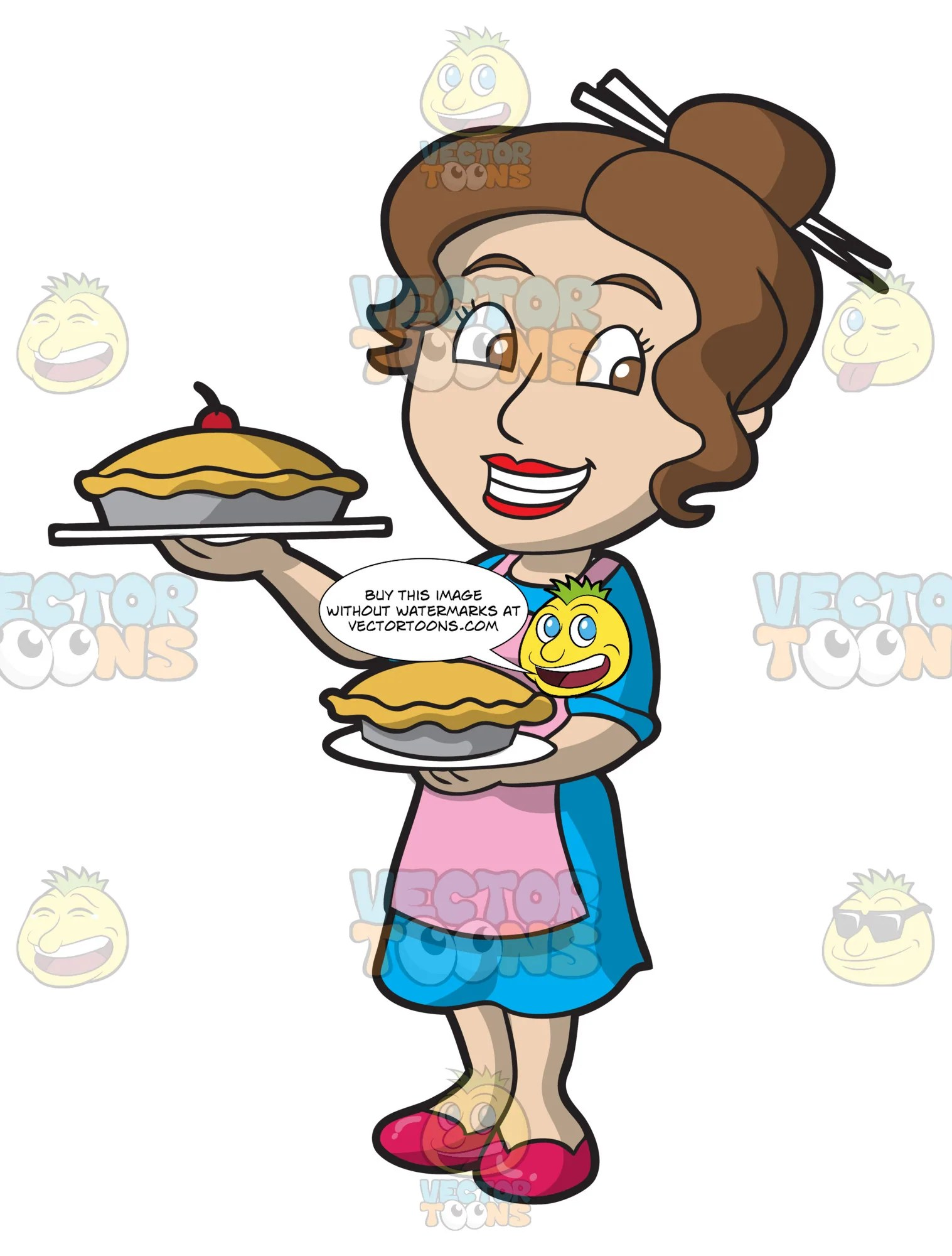 hight resolution of a woman showing off her freshly baked pies clipart cartoons by vectortoons