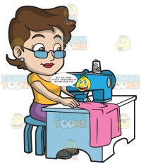 A Fashion Designer Sewing Her New Clothes  Clipart ...