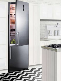 summit kitchens kitchen trash can pull out bottom mount refrigerator ffbf249ssbi sized to fit in space challenged