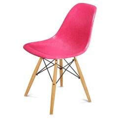 Neon Pink Chair Swivel Hunting Modernica Side Shell W Maple Black Wire Dowel Base By Vertigo Home