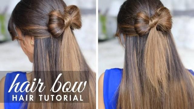 half-up hair bow cute hair tutorial – luxy hair