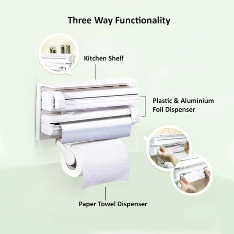 3 in 1 kitchen recessed led lights for triple paper dispenser holder holiday gift guide ph foil cling wrap center holds silver plastic and towels all one