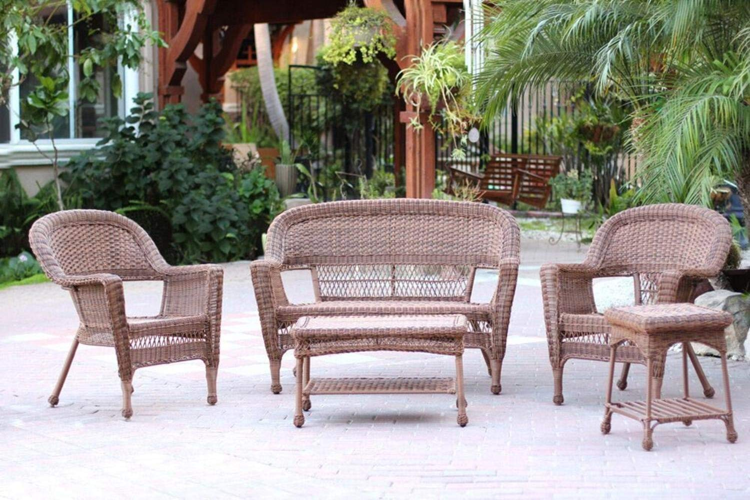 Wicker Patio Chair 4 Piece Swann Honey Brown Wicker Patio Chairs Loveseat And Table Furniture Set 4 Piece Swann Honey Brown Wicker Patio Chairs Loveseat And Table