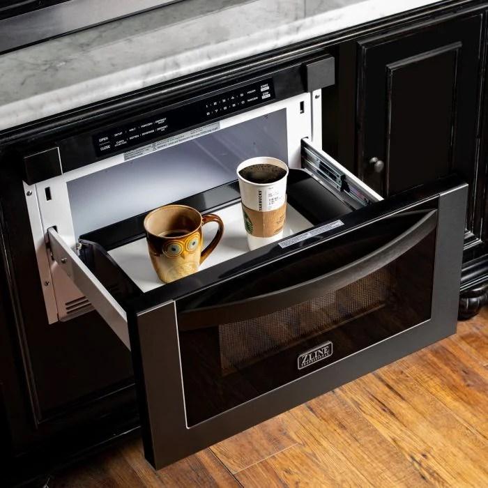 zline 24 1 2 cu ft microwave drawer in black stainless steel mwd 1 bs