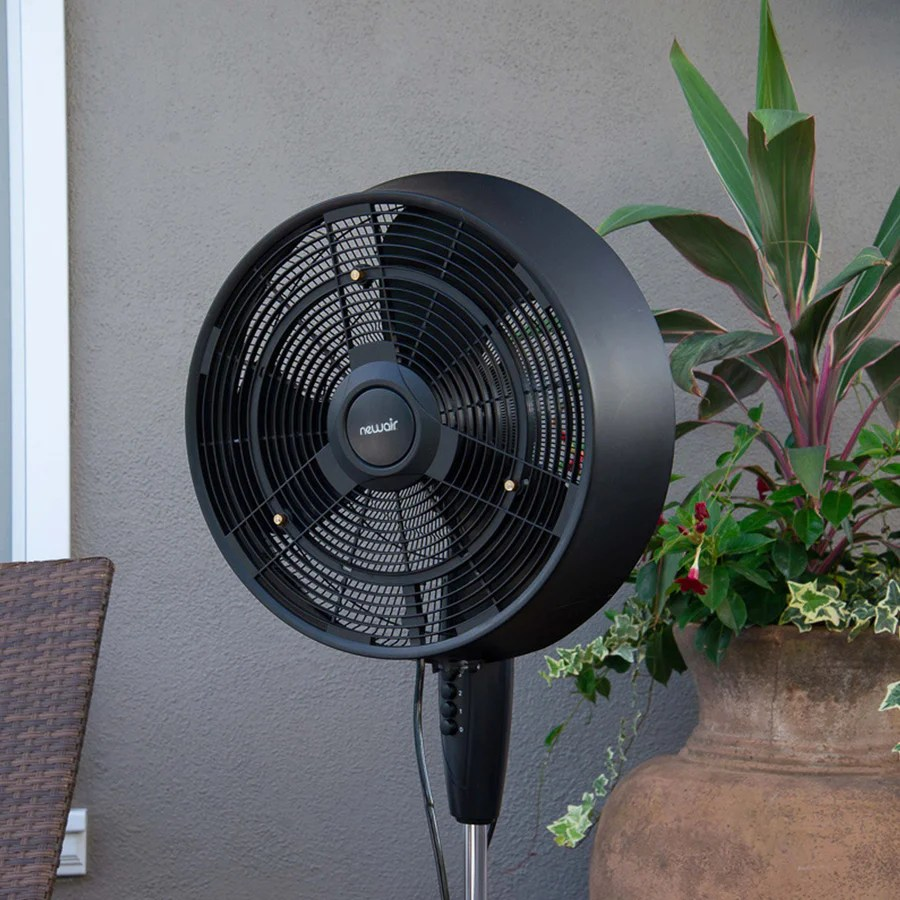 hight resolution of newair outdoor misting fan and pedestal fan combination 500 sq ft