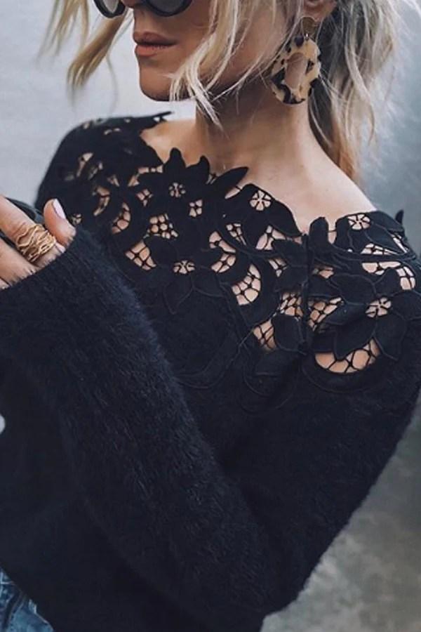 Off Shoulder Decorative Lace Plain Sweaters