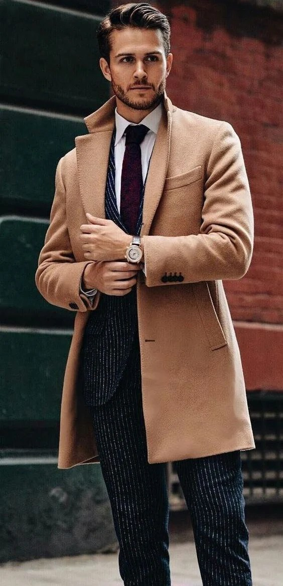 Fashion Lapel Collar Plain Button Packets Long Coat