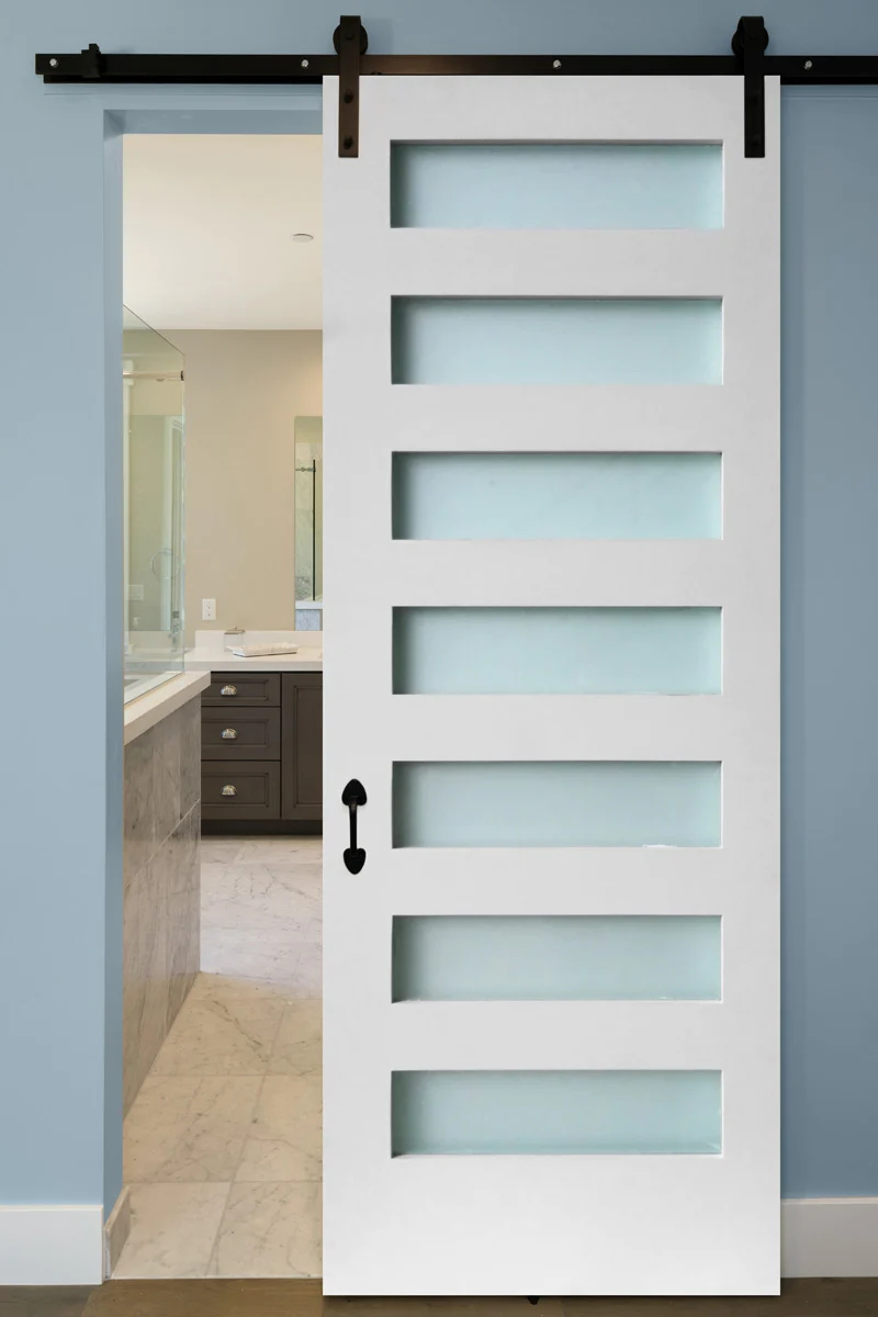 1 Panel Etched Glass Primed Solid Core Mdf Interior Door Styrelic | Frosted Glass Stair Panels | Smoked | Toughened | Deck | Balcony | Contemporary