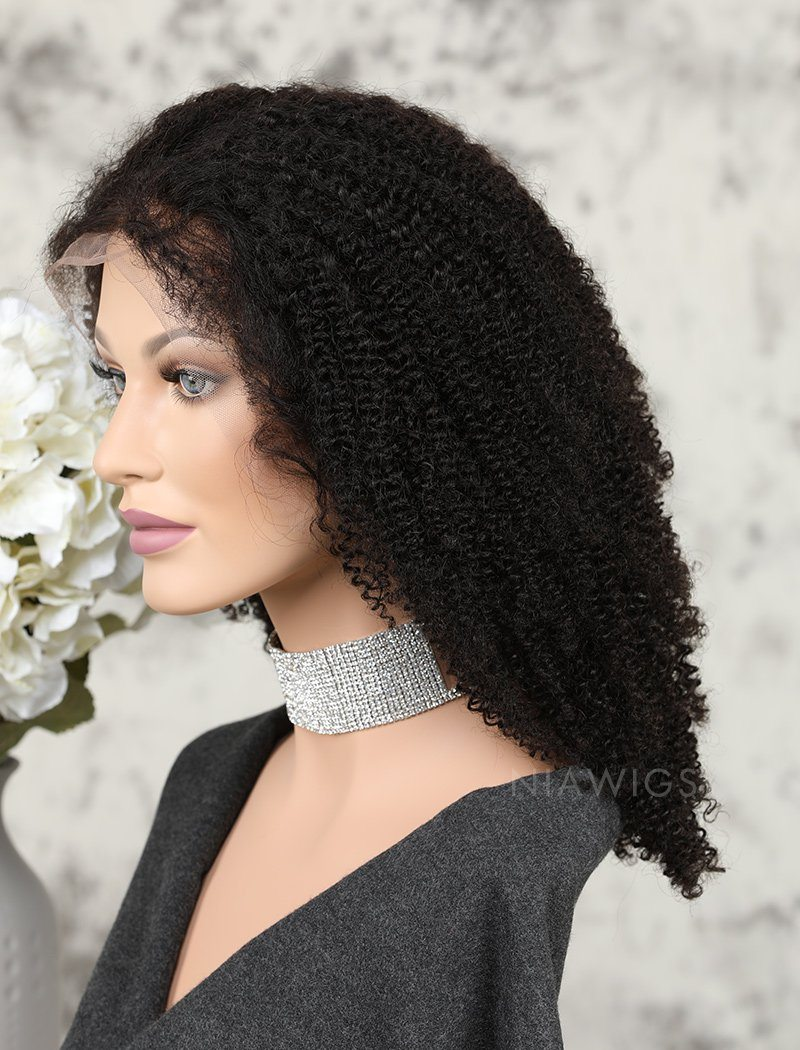 Afro Kinky Curly Human Hair Lace Front Wigs Natural Black Hair