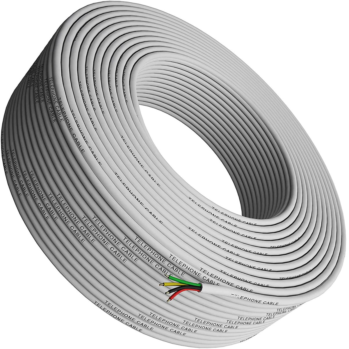 phone cable 300ft rounded white roll 4x1 0 4 reel round long cord tupavco [ 1200 x 1200 Pixel ]