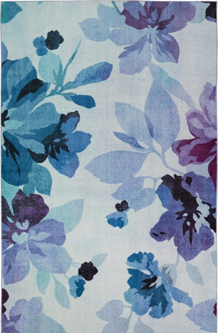 Technicolor Blooms Blue Purple Area Rug Covered By Rugs