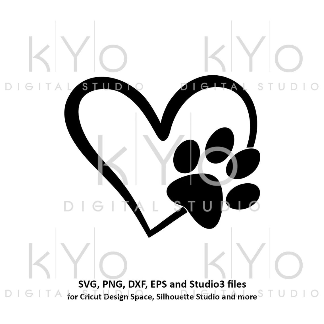 Download Paw svg Paw in Heart svg Dog Cat Love Pet paw svg Heart ...