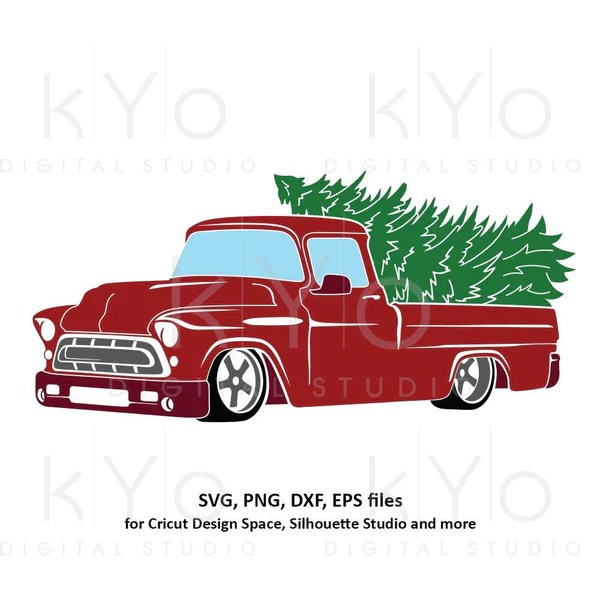877 Red Christmas Truck Svg