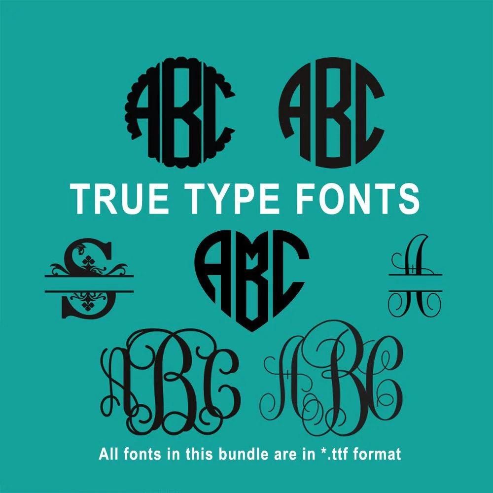 Download True Type Monogram Font Bundle for Cricut Design Space and ...