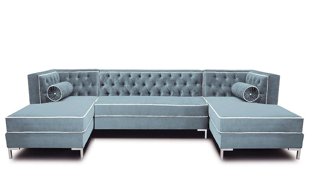 tobias 10 foot double chaise tufted sectional by los angeles custom furniture
