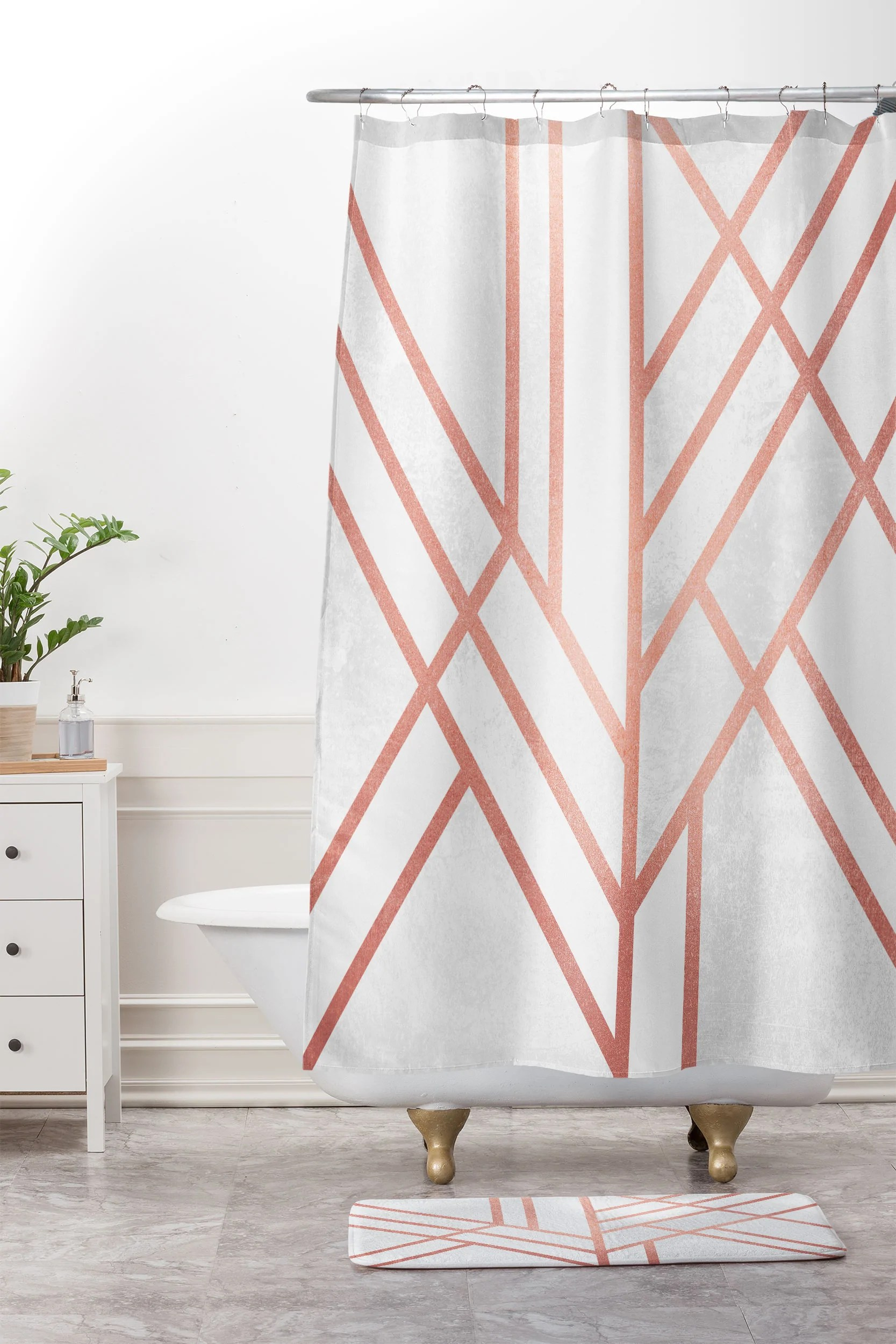 art deco rose gold shower curtain and