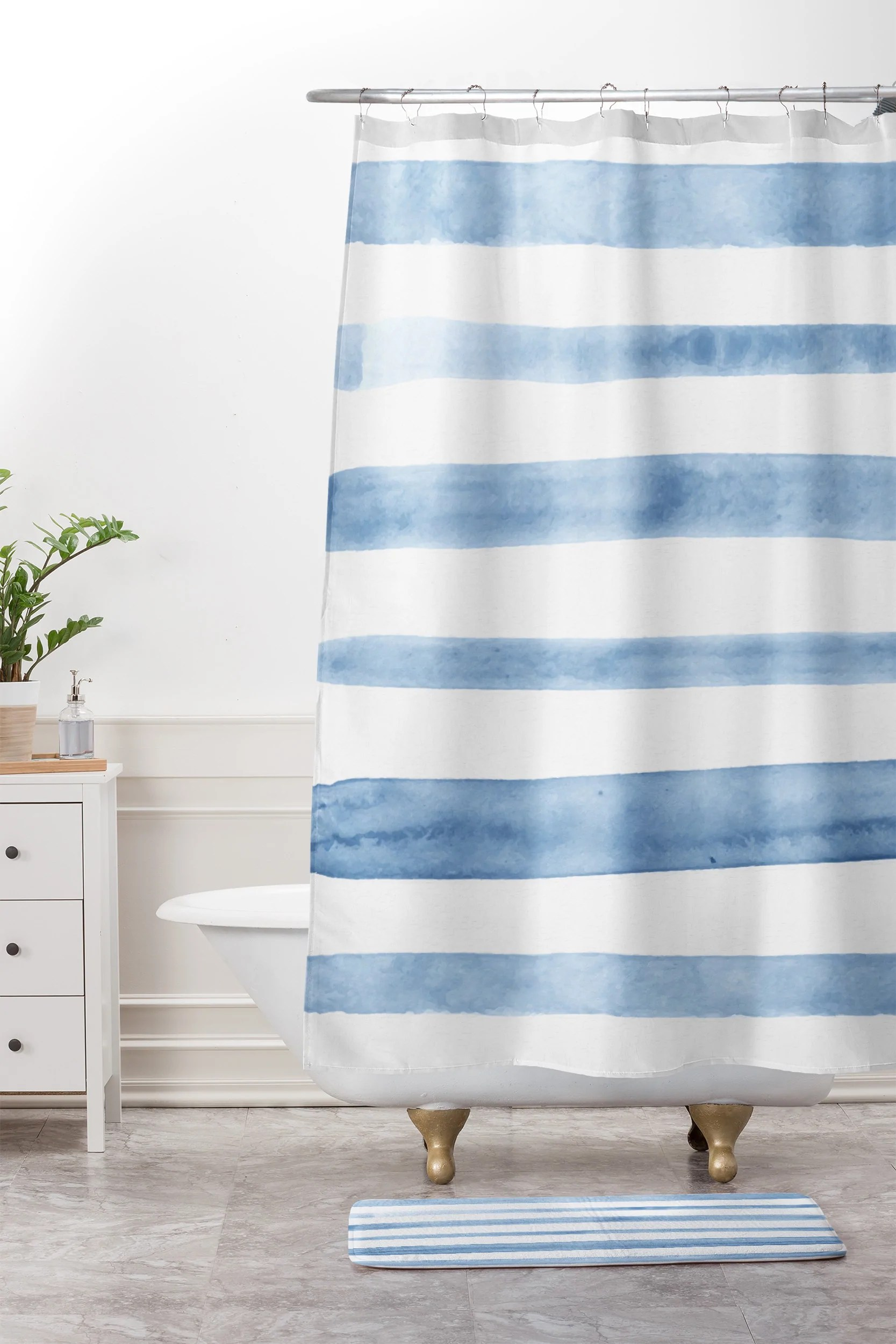 Blue Watercolor Stripes Shower Curtain And Mat Kelly Haines