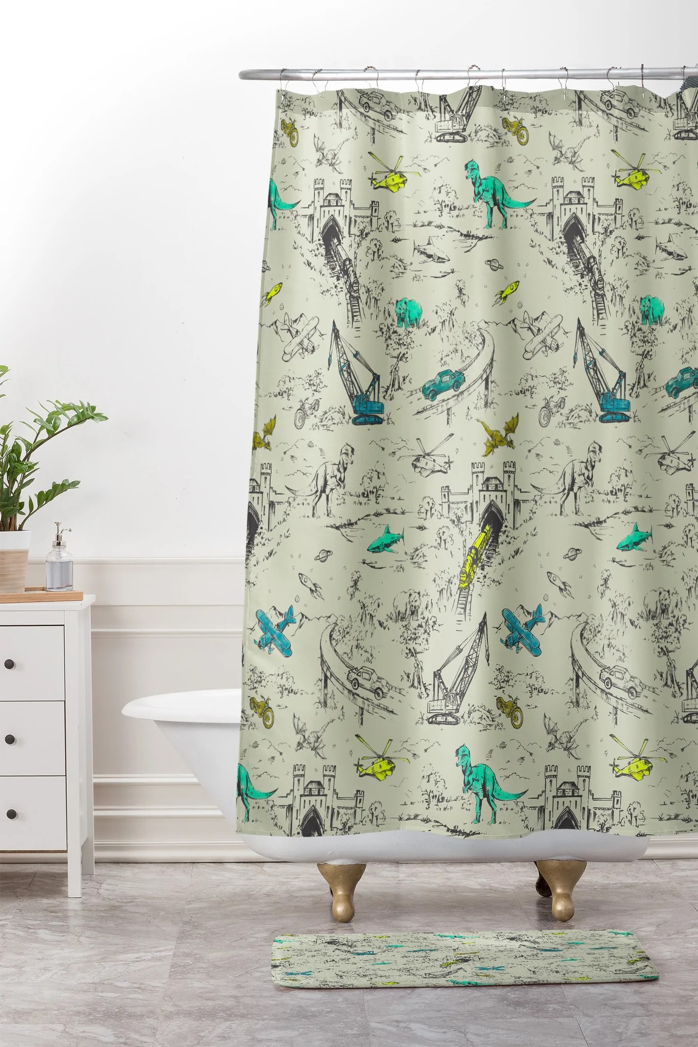 adventure toile shower curtain and mat
