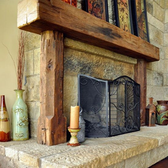 Real Beam Rustic Full 8 X 8 Wood Beam Fireplace Mantel With Legs Shields And Sons