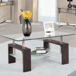 Wood Living Room Furniture Small Sets Rectangular Tempered Glass Coffee Table W Shelf