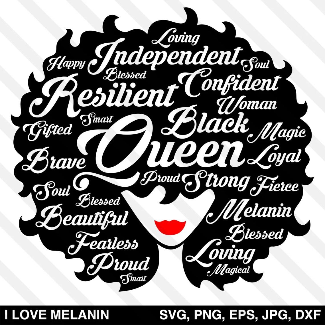 Download Black Queen Afro Woman SVG - I Love Melanin