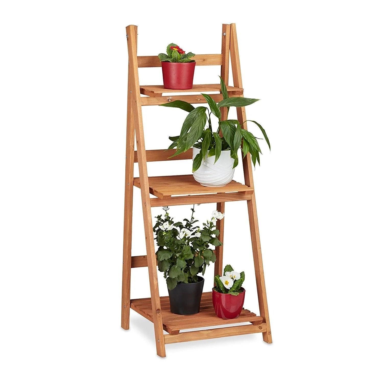 escalier etagere meuble pour plantes bois 107 cm bois