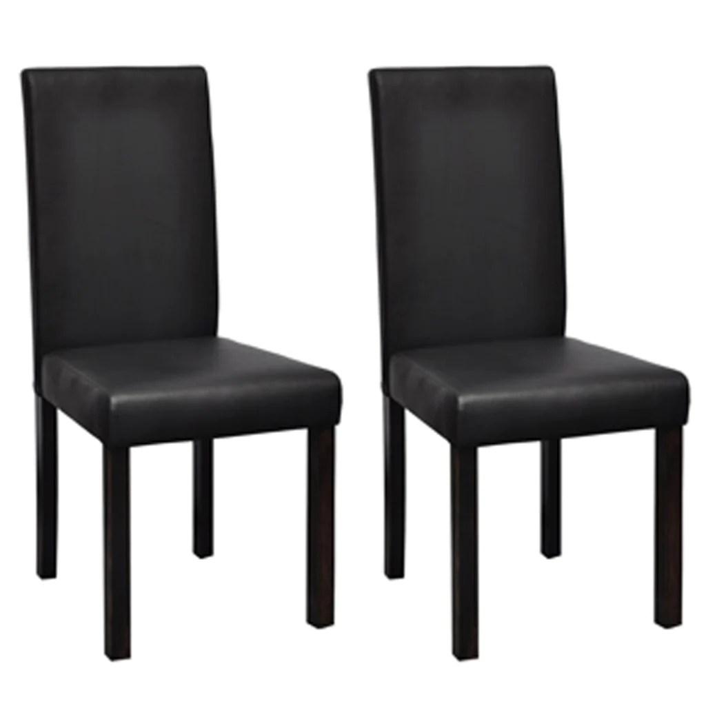 lot de 2 chaises de cuisine salon salle a manger dossier haut design noires noir