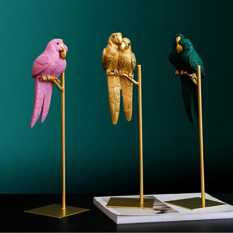 nordic creative couple perroquet resine decoration salon meuble tv decoration de la maison