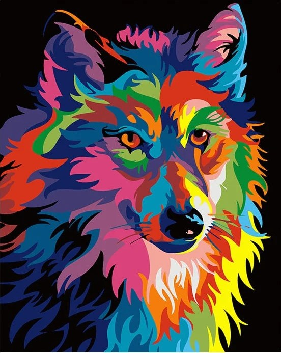 abstract wolf animals paint