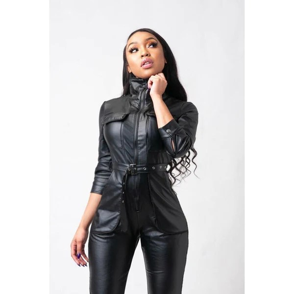 moto belted faux leather