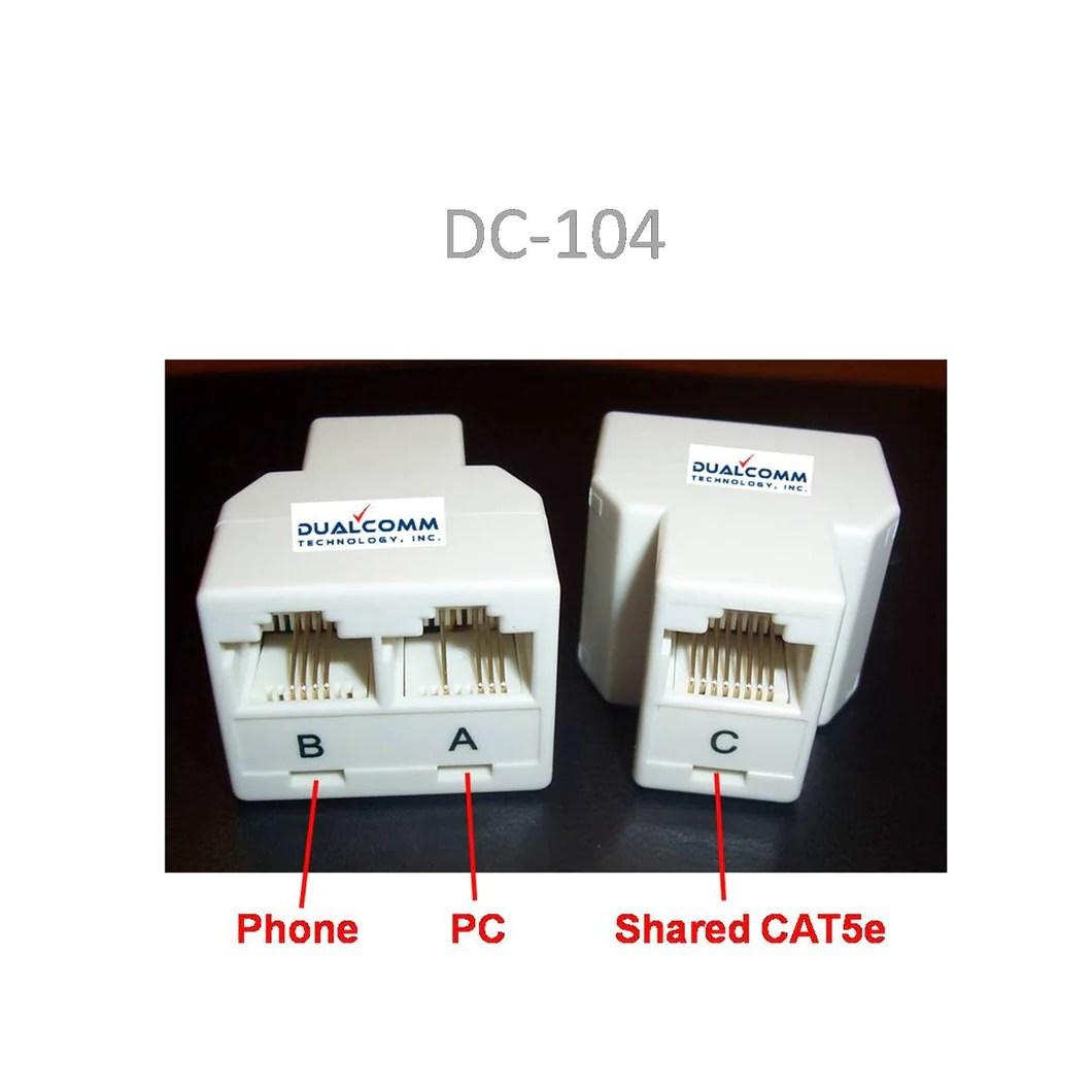 rj45 rj11 splitter cable sharing kit for ethernet and phone lines rj11wiringdiagramcat5 dualcomm technology rj45 rj11 network cable [ 1060 x 1060 Pixel ]