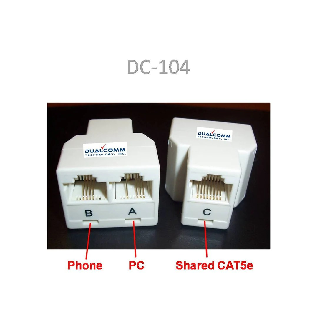 hight resolution of rj45 rj11 splitter cable sharing kit for ethernet and phone lines rj11wiringdiagramcat5 dualcomm technology rj45 rj11 network cable