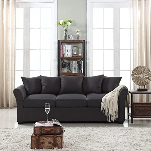 living room fabrics decorating ideas for narrow rooms classic comfortable linen fabric sofa couch dark grey kitchen