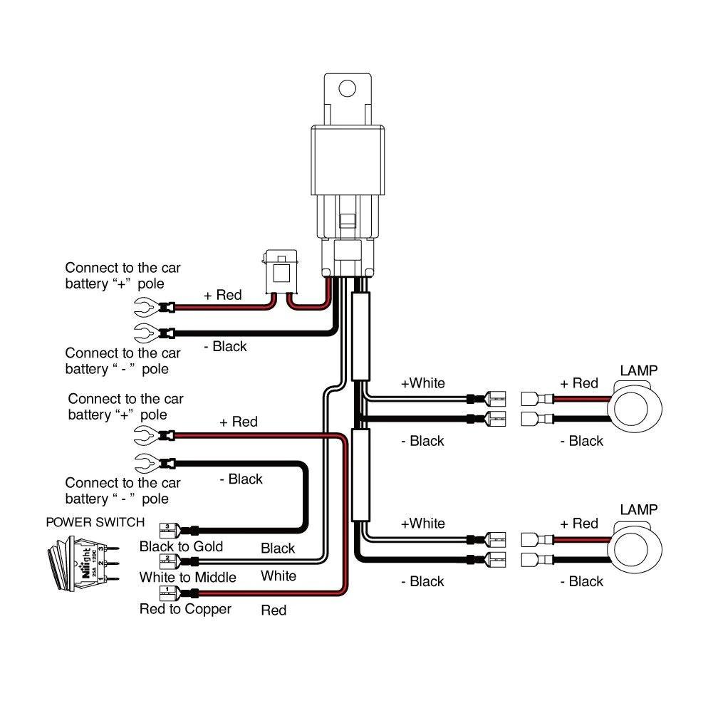medium resolution of nilight off road led light bar wiring harness kit 12v relay on off atv light bar wiring kit