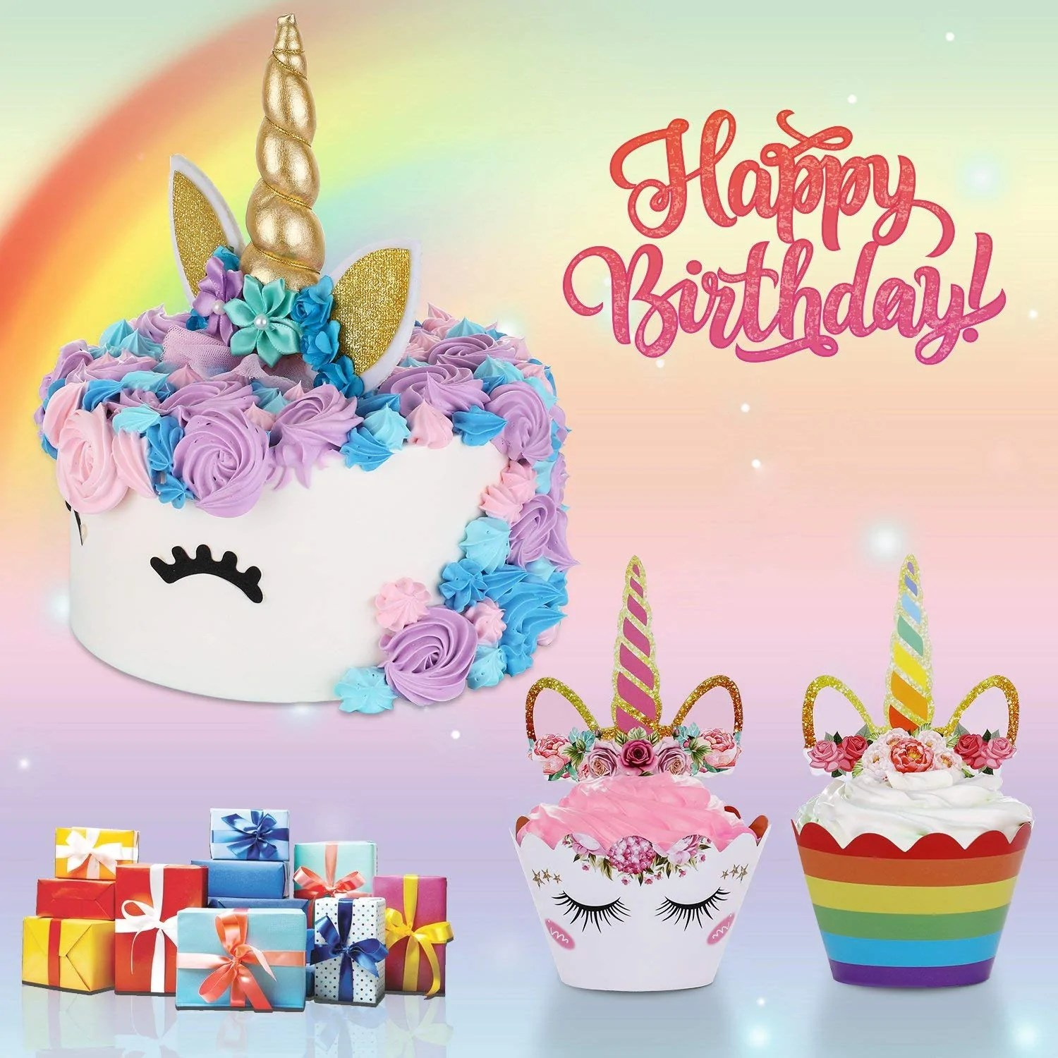 Hiware Unicorn Cake Topper Set Includes Cupcake Toppers And Wrappers