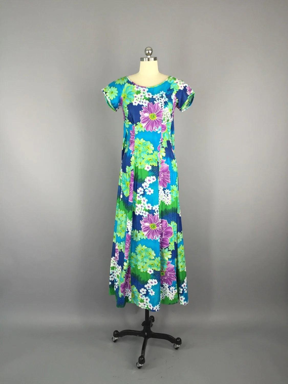 1960s Vintage Blue Hawaiian Maxi Dress