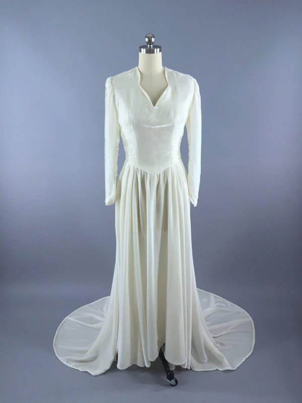 Vintage 1930s Silk Velvet Wedding Dress  ThisBlueBird