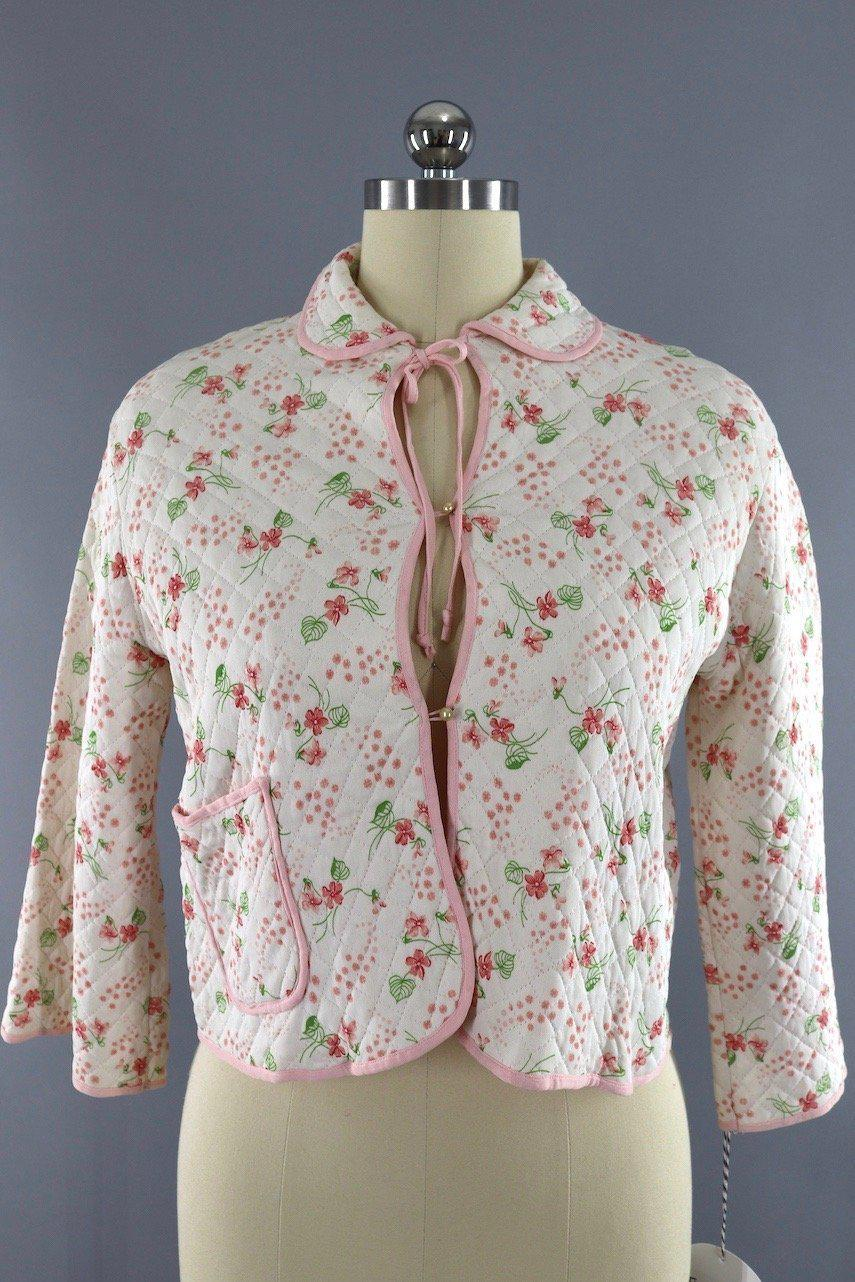 Bed Jacket Vintage : jacket, vintage, Vintage, 1950s, Winks, Floral, Print, Quilted, Jacket
