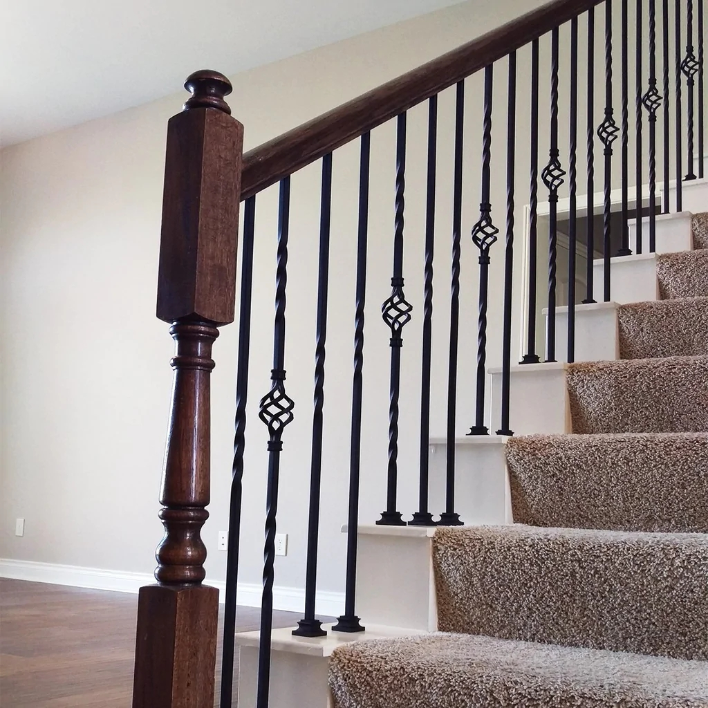 Single Twist Wrought Iron Baluster Affordable Stair Parts   Iron Handrails For Stairs   Cheap   Staircase   Spanish Style   Wood   Craftsman Style
