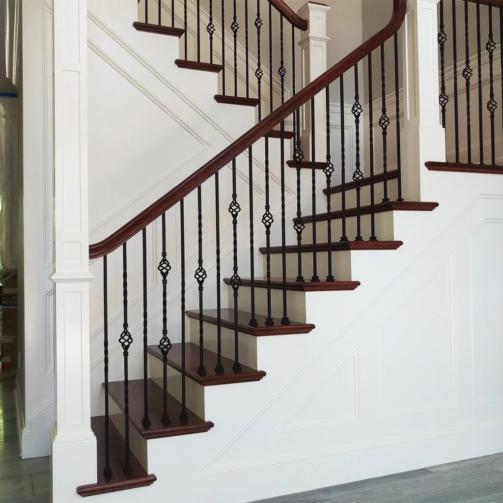 Single Basket Wrought Iron Baluster Affordable Stair Parts | Wrought Iron Baluster Designs | Rot Iron Staircase | Rod Iron | Metal Rail | Stair Railing | Replacement