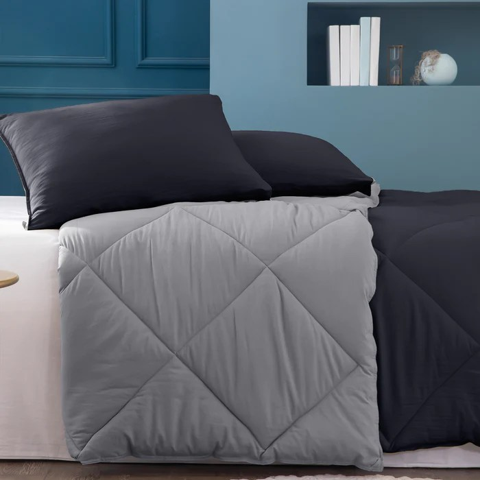 kasentex multi color 2 tone reversible comforter set with down alternative filling hypoallergenic