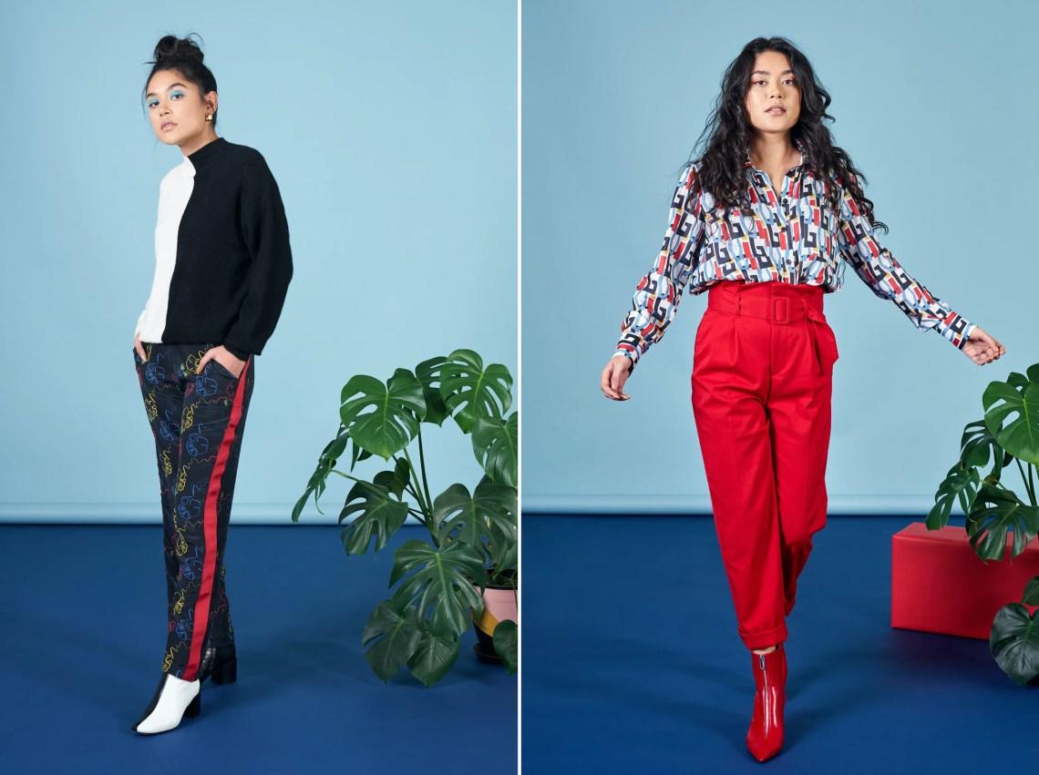 Models wearing stylish clothing against a blue background