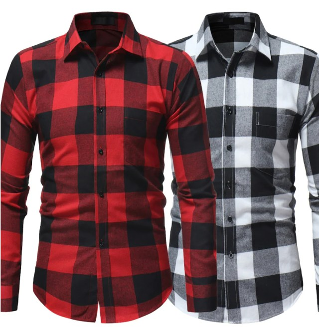 Plaid shirts on display.