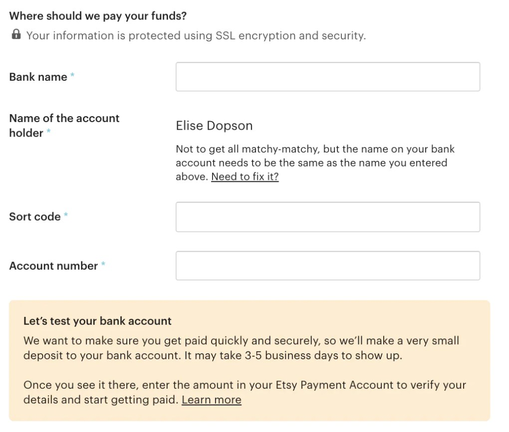 Setting up payment options and details in Etsy.
