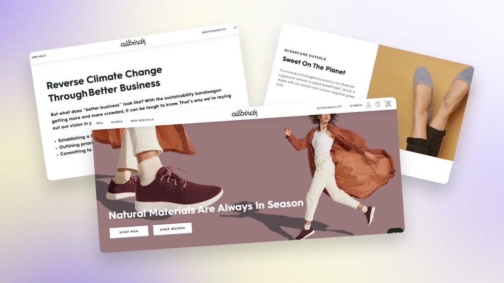 Three images showing Allbirds' brand consistency