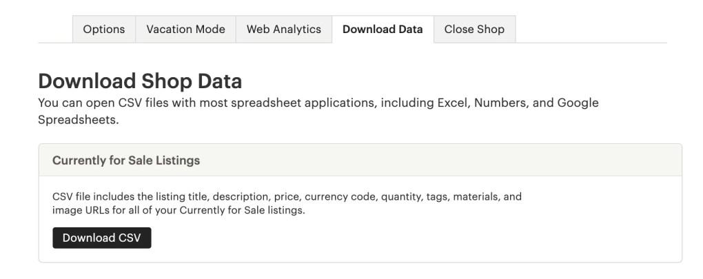 Etsy screen, download shop data