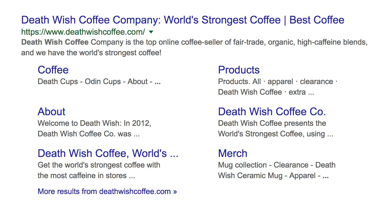 Here's A Good Example Of A Meta Description. Death Wish Coffee Search  Engine Results Page